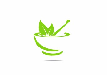 traditional, herbal, pharmacy, logo, symbol, leaf