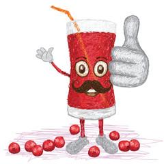 cranberry fruit juice mustache cartoon
