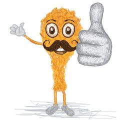 fried chiken mustache cartoon