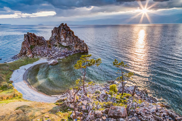 Shaman Rock, Lake Baikal in Russia.