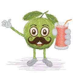 guava fruit mustache cartoon