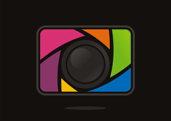 abstract digital camera with colorful shutter vector icon