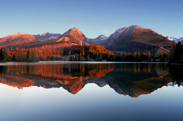 Autumn mountains with reflection in lake