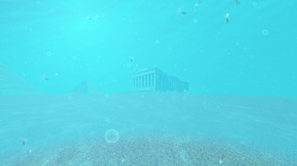Colosseum and Ruins landmarks under the ocean water