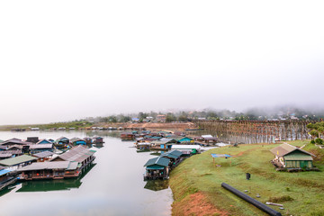 The floating village in Sangkhlaburi, Thailand