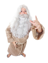 bearded man preaching on a white background