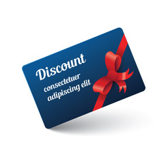 discount card with ribbon