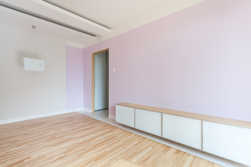 Spacious room in pastel colors