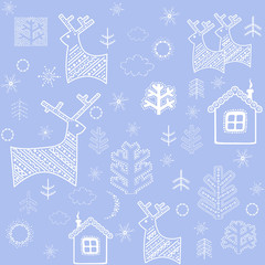 Blue winter wallpaper with reindeers, trees and little house