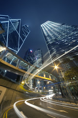 Busy Traffic in Hong Kong at night