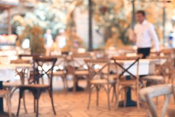 summer restaurant blurred background