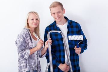 Young couple renovating