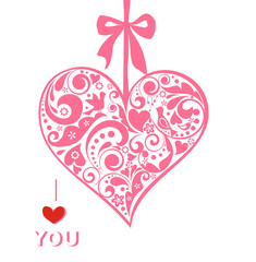 Greeting card with hanging paper decorative heart