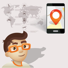 character man with locations , map in  phone