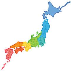 筆で書いた日本地図 カラフル 地方