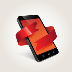 phone and ribbon