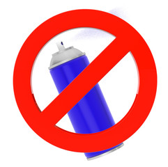 Blue Spray Can with prohibition sign