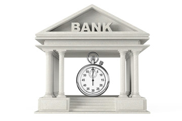 Time Save Concept. Bank Building with stopwatch