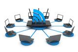 Laptops around WIFI Router
