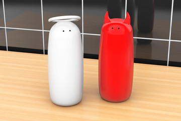 Salt and pepper shakers as angel and devil