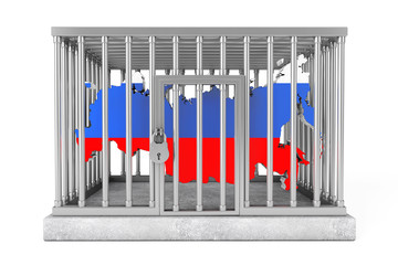 Map of Russia in Metal Cage with Lock
