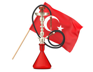 Eastern Glass Hookah with Turkish Flag