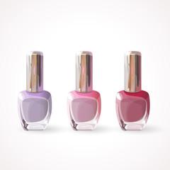 Set of colored bottles of nail polish. Eps 10