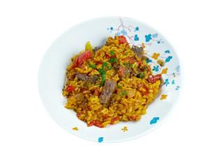 East Indian Biryani Rice Dish with Meat
