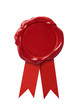 Red wax seal signet with ribbon isolated