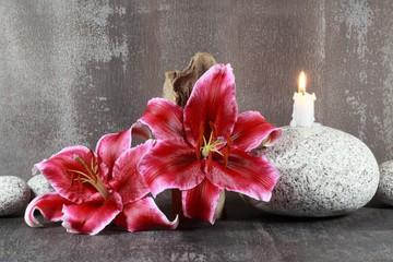 Lilien und Kerze