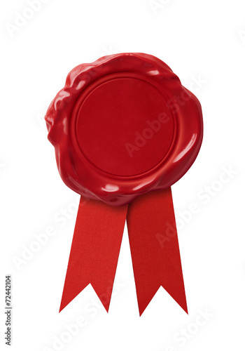 Red wax seal signet with ribbon isolated - 72442104