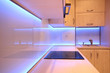 Modern luxury kitchen with purple LED lighting - 72442395