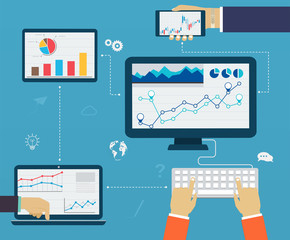 Business infographics by using modern of digital devices, report