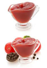 tomato sauce in bowl on white