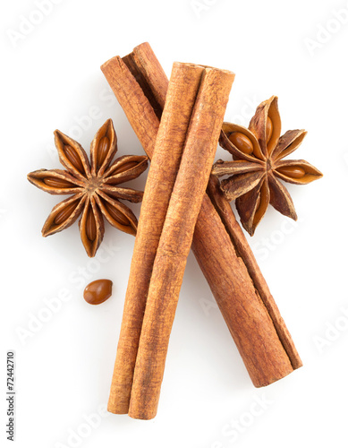 cinnamon sticks and anise star on white - 72442710