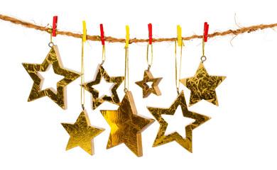 Golden Christmas stars, isolated over white background