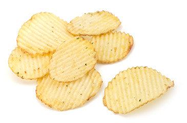 Spicy potato chips isolated on white background