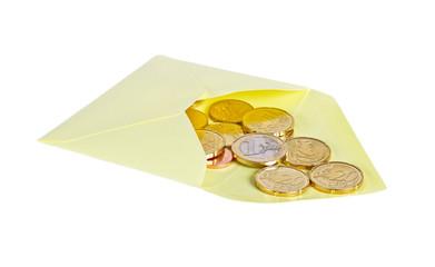 Envelope with euro money.