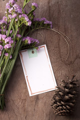 Blank greeting card romantic mood.