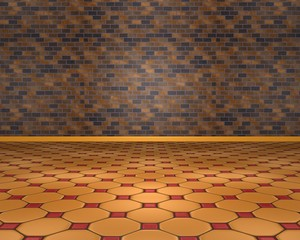 Orange floor with brown wall