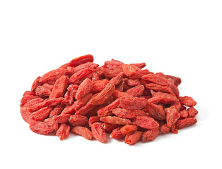Dry red goji berries for a healthy diet isolated on white
