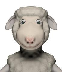 smiling sheep face cartoon caracter