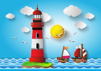 Vector illustration  lighthouse with seascape.