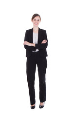 Happy Young Businesswoman Standing Arms Crossed
