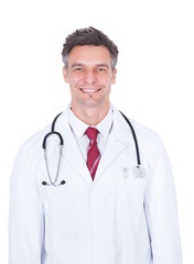 Doctor With Stethoscope Around Neck Over White Background