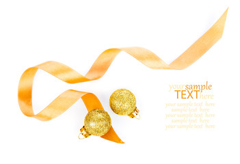 two golden christmas decoration balls with satin ribbon, isolate