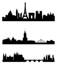 Three capitals silhouettes