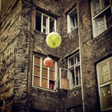 Tenement old house color balloon poster