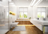 Modern white bathroom poster