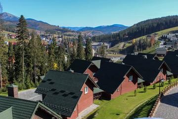 Mountains ski resort at autumn